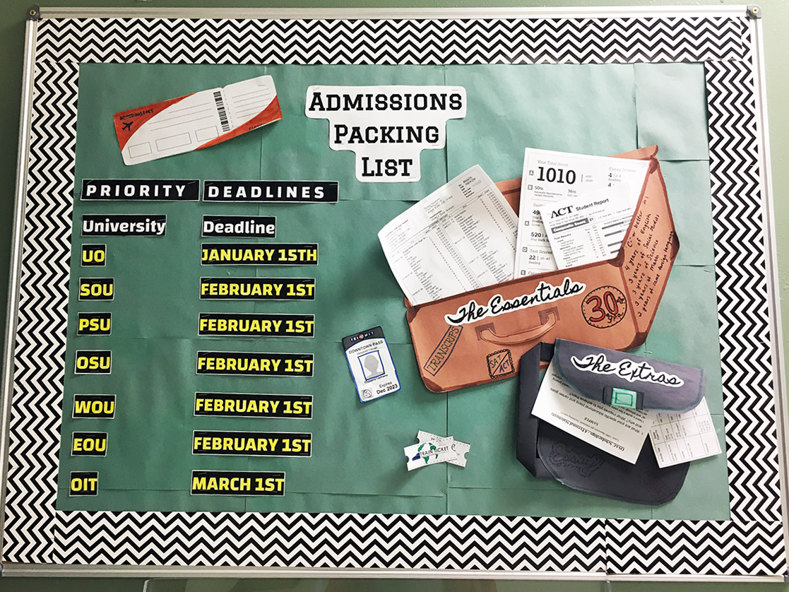 Bulletin board with admission deadlines
