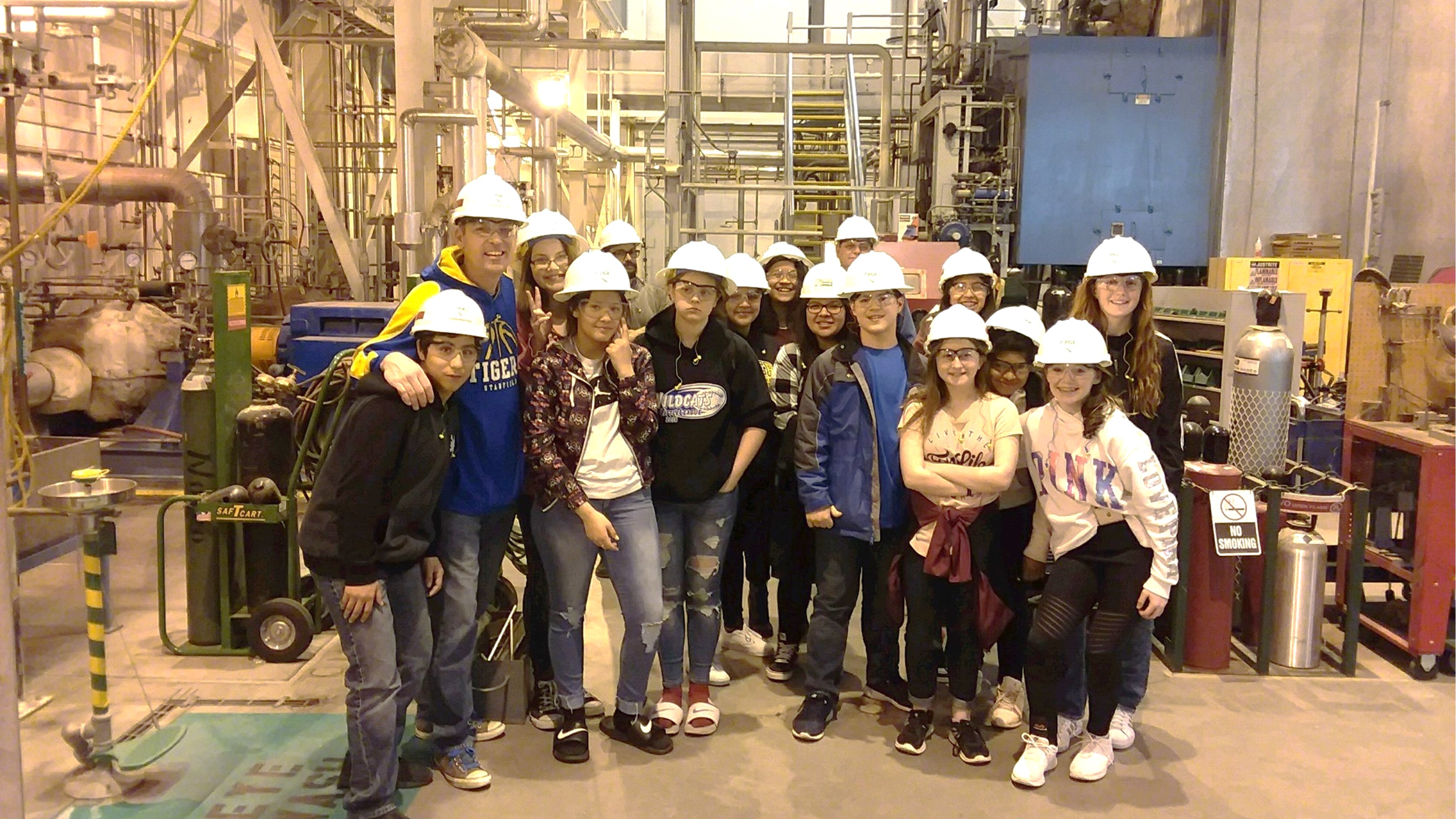 Stanfield students in hard hats