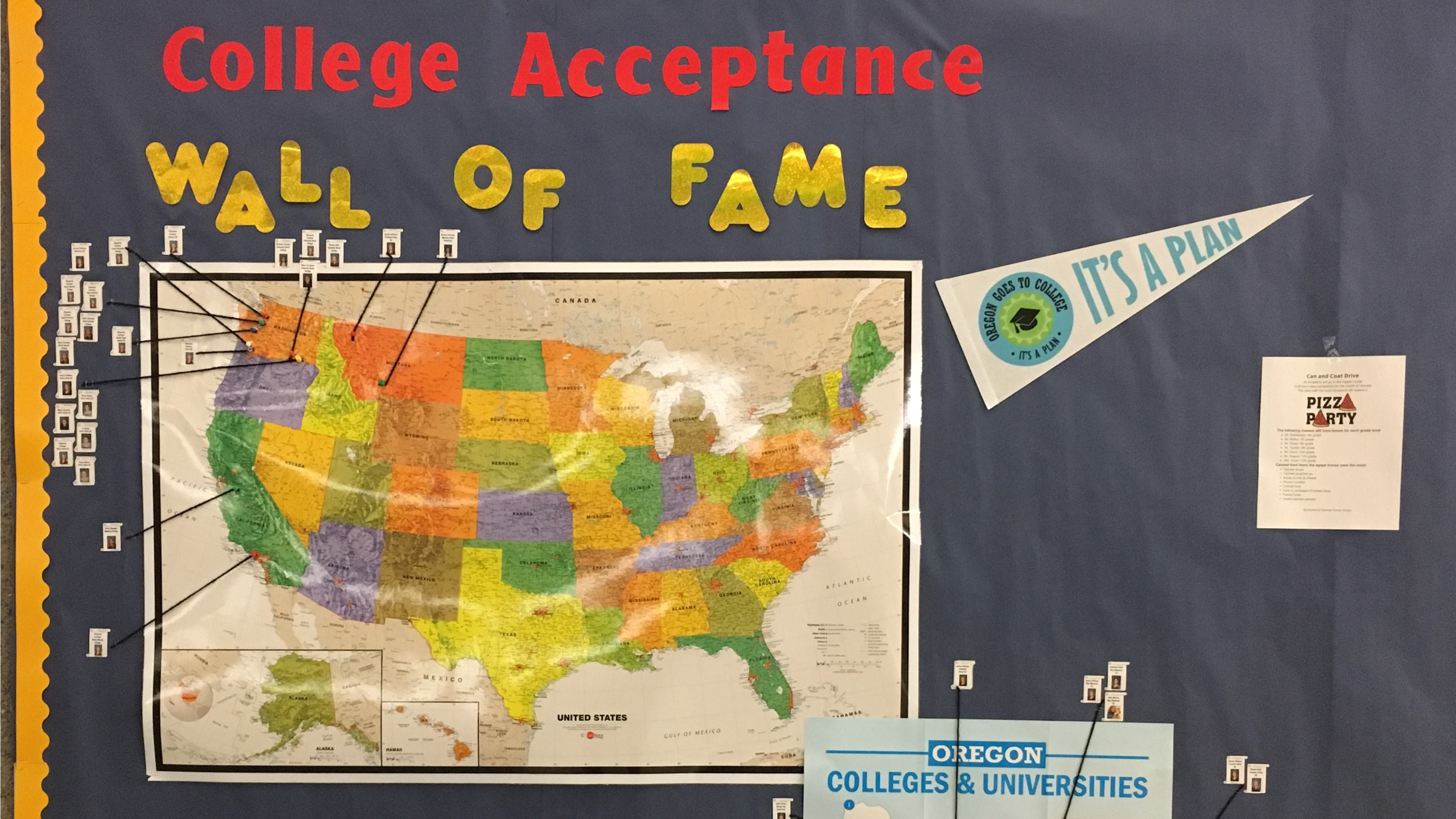 Stanfield wall of fame showing where seniors are going to college