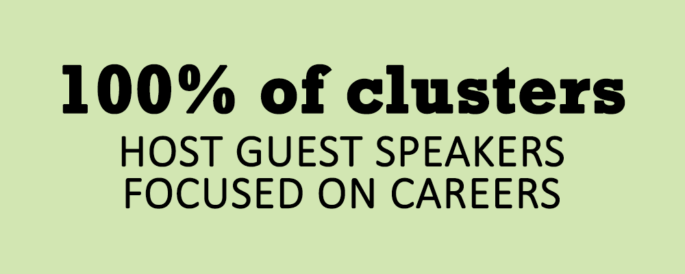 100% of clusters host career speakers